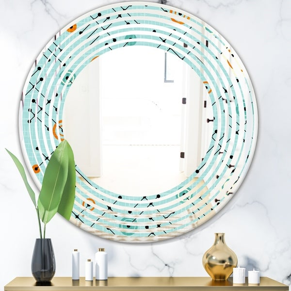 Designart 'Retro Abstract Design XIV' Modern Round or Oval Wall Mirror - Wave