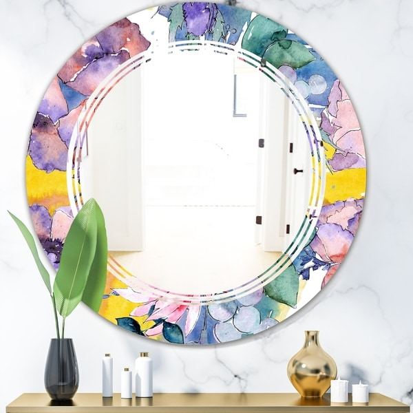 Designart 'Retro Floral Botanical V' Cottage Round or Oval Wall Mirror - Triple C - Multi