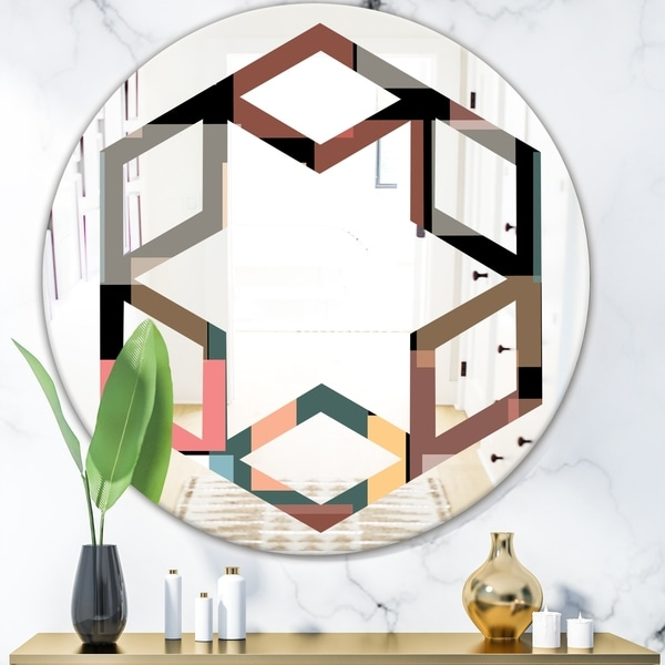 Designart 'Retro Square Design II' Modern Round or Oval Wall Mirror - Hexagon Star