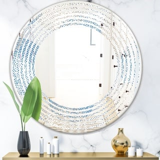 Designart 'Abstract Retro Design I' Modern Round or Oval Wall Mirror - Wave