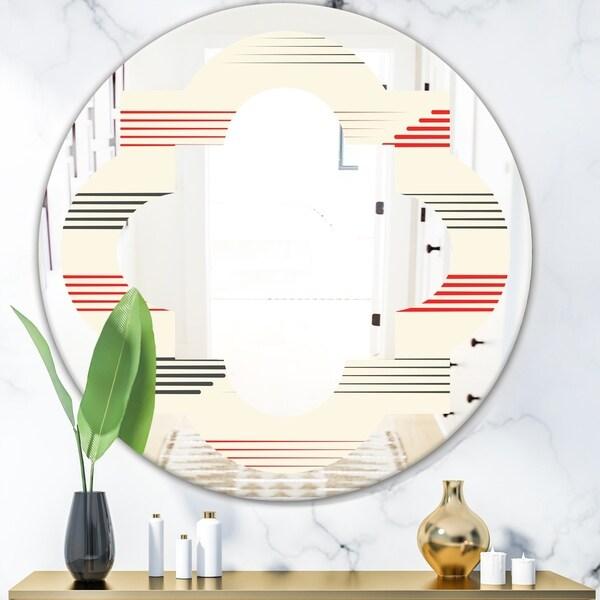 Designart 'Horizontal Retro Geometrical Pattern I' Modern Round or Oval Wall Mirror - Quatrefoil