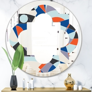 Designart 'Retro Geometric Grid IV' Modern Round or Oval Wall Mirror - Quatrefoil