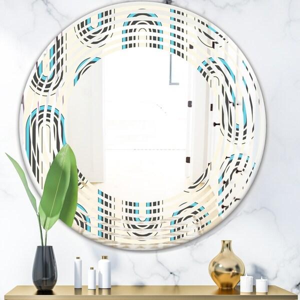 Designart 'Retro Geometrical Abstract Minimal Pattern IV' Modern Round or Oval Wall Mirror - Wave