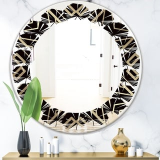 Designart 'Gold and Black Art Deco Pattern' Modern Round or Oval Wall Mirror - Leaves