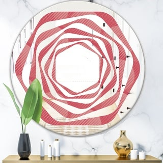 Designart 'Coral Round Geometrical' Modern Round or Oval Wall Mirror - Whirl