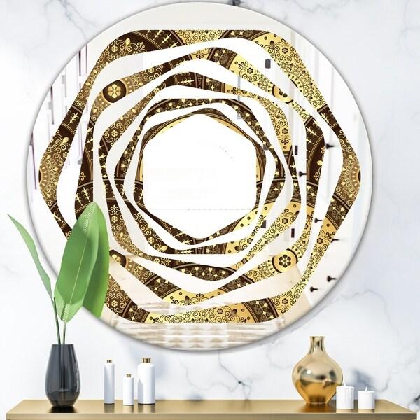 Designart 'Golden Circular Pattern I' Modern Round or Oval Wall Mirror - Whirl