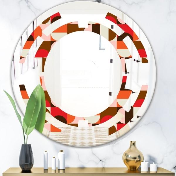 Designart 'Retro Geometric Design II' Modern Round or Oval Wall Mirror - Space