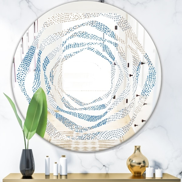 Designart 'Abstract Retro Design I' Modern Round or Oval Wall Mirror - Whirl