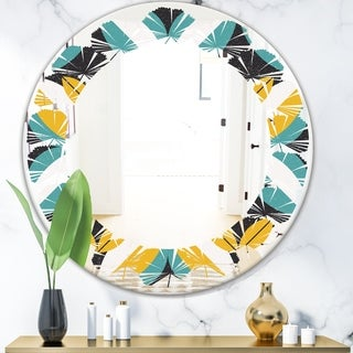Designart 'Retro Abstract Design VII' Modern Round or Oval Wall Mirror - Leaves