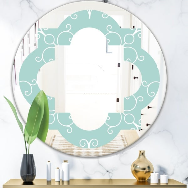 Designart 'Turquoise Minimal Ornament' Modern Round or Oval Wall Mirror - Quatrefoil