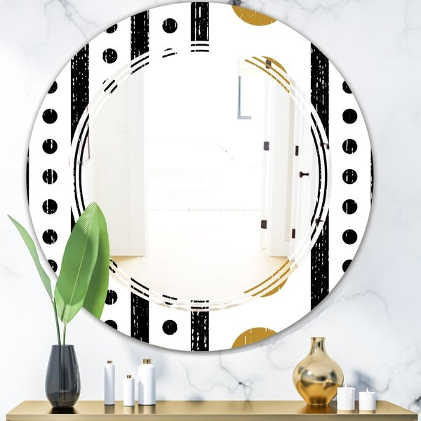 Designart 'Retro Geometrical Abstract Minimal Pattern VII' Modern Round or Oval Wall Mirror - Triple C