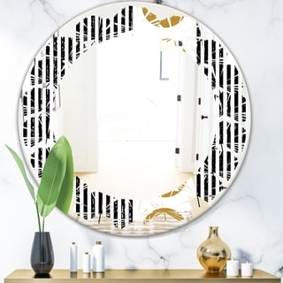 Designart 'Vertical Retro Geometrical Pattern I' Modern Round or Oval Wall Mirror - Leaves