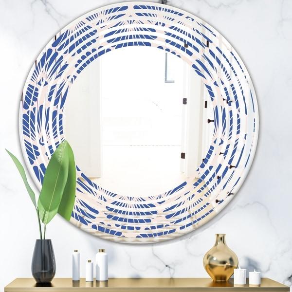 Designart 'Retro Blue Waves' Modern Round or Oval Wall Mirror - Wave