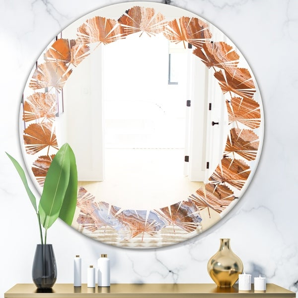 Designart 'Marbled Geode 2' Modern Round or Oval Wall Mirror - Leaves