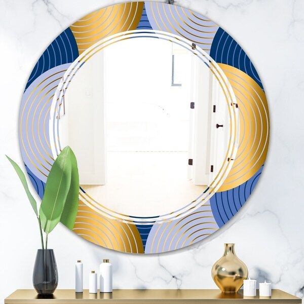 Designart 'Retro Luxury Waves In Gold and Blue X' Modern Round or Oval Wall Mirror - Triple C