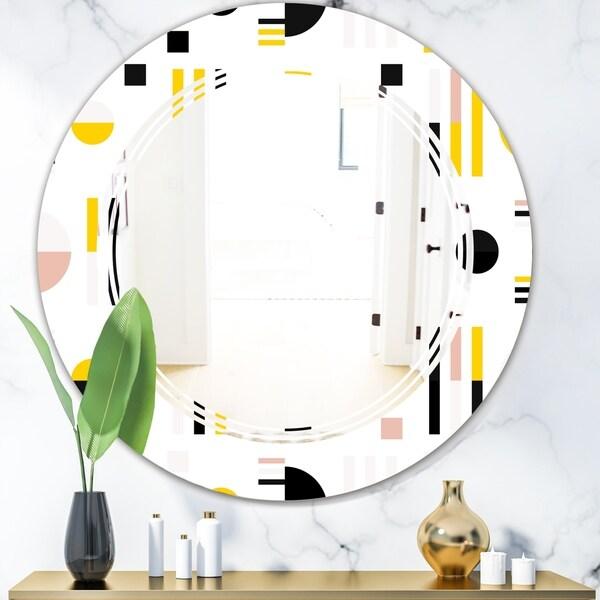 Designart 'Retro Geometric Design IX' Modern Round or Oval Wall Mirror - Triple C