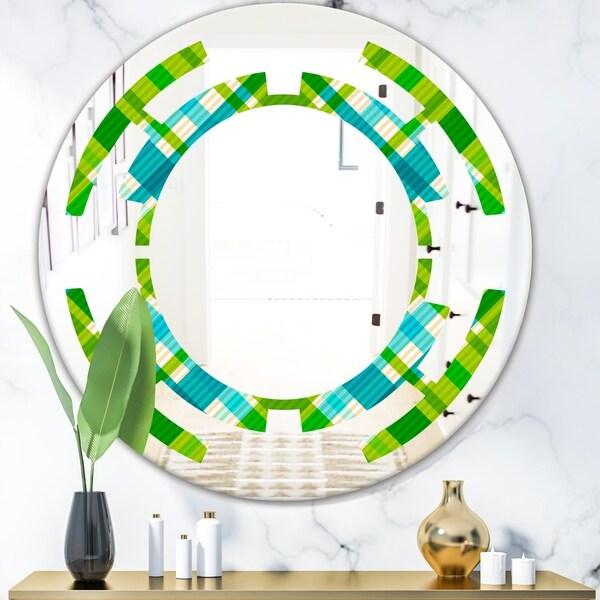 Designart 'Tartan Geometrical Texture II' Modern Round or Oval Wall Mirror - Space