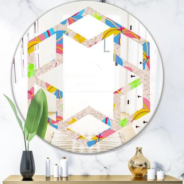 Designart 'Retro Pink Yellow Flowers' Modern Round or Oval Wall Mirror - Hexagon Star
