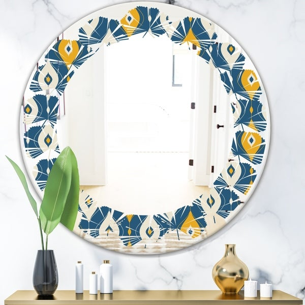 Designart 'Retro Abstract Pattern II' Modern Round or Oval Wall Mirror - Leaves