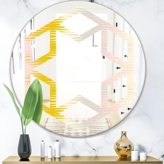 Designart 'Retro Abstract Design IV' Modern Round or Oval Wall Mirror - Hexagon Star