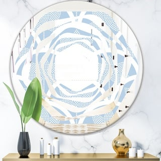 Designart 'Japanese style Half' Modern Round or Oval Wall Mirror - Whirl
