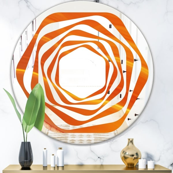 Designart 'Brown agate in Wave pattern' Modern Round or Oval Wall Mirror - Whirl