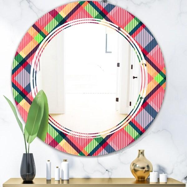 Designart 'Tartan Geometrical Texture I' Modern Round or Oval Wall Mirror - Triple C