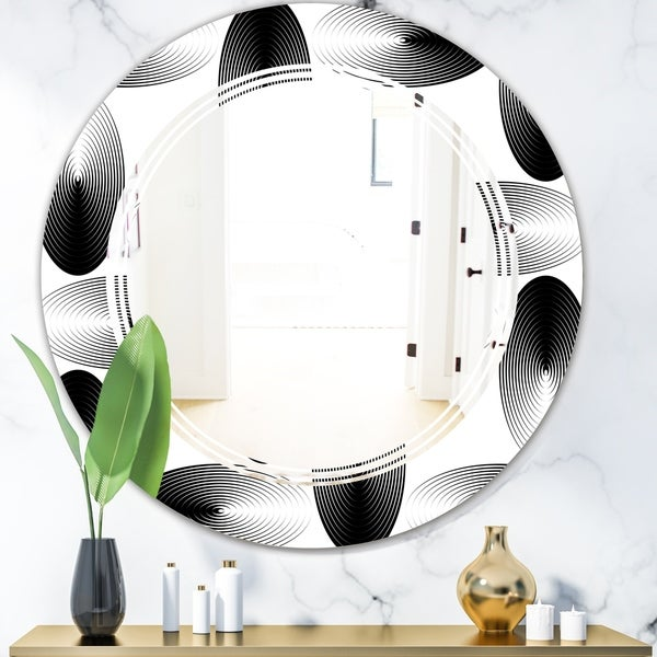 Designart 'Retro Geometrical Abstract Pattern IV' Modern Round or Oval Wall Mirror - Triple C