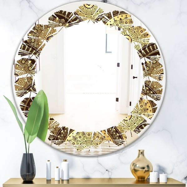 Designart 'Golden Circular Pattern I' Modern Round or Oval Wall Mirror - Leaves