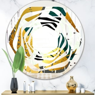 Designart Golden Foliage V Modern Round Or Oval Wall Mirror Whirl 31 5 In Wide X 31 5 In High Sportspyder