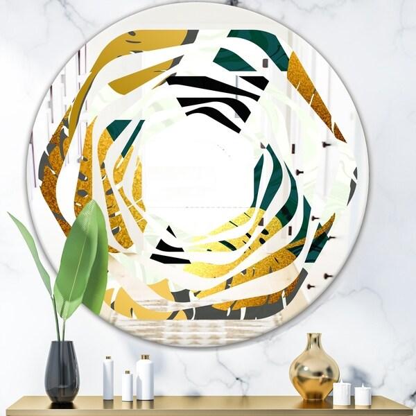Designart 'Golden Foliage V' Modern Round or Oval Wall Mirror - Whirl