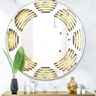 Designart 'Gold and browne pattern with gradient vintage circles' Modern Round or Oval Wall Mirror - Wave