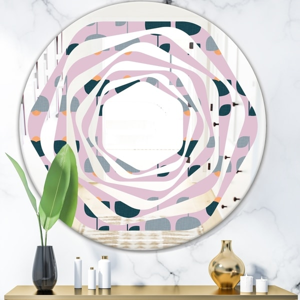 Designart 'Retro Floral Pattern XIII' Modern Round or Oval Wall Mirror - Whirl