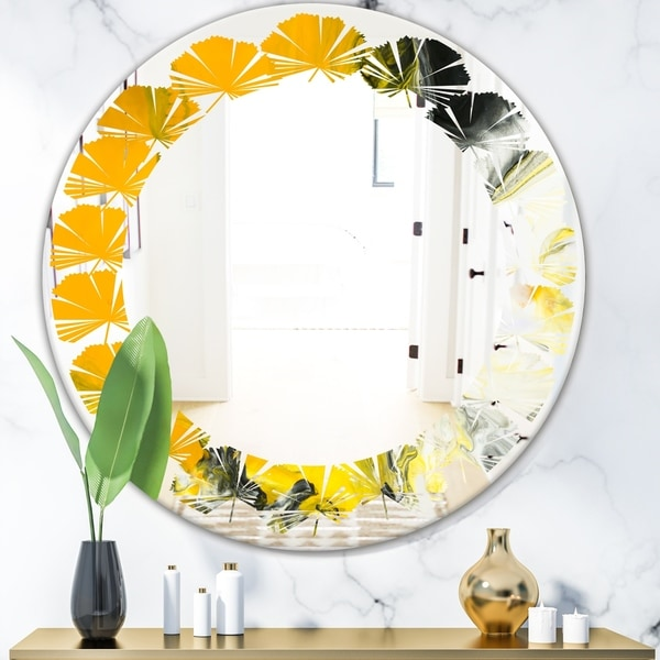 Designart 'Marbled Yellow 6' Modern Round or Oval Wall Mirror - Leaves