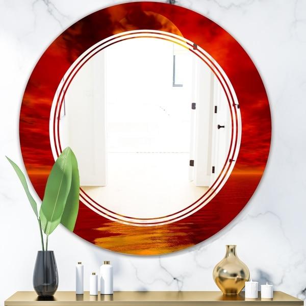 Designart 'Golden Sun Sinking in Red Waters' Modern Round or Oval Wall Mirror - Triple C