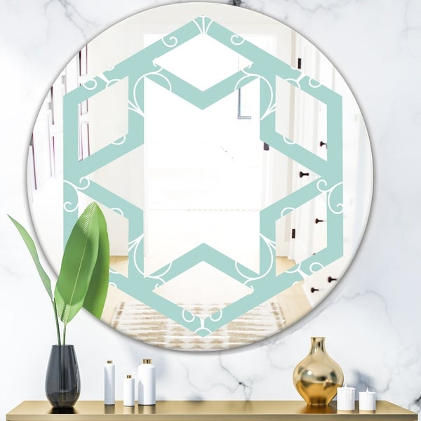 Designart 'Turquoise Minimal Ornament' Modern Round or Oval Wall Mirror - Hexagon Star