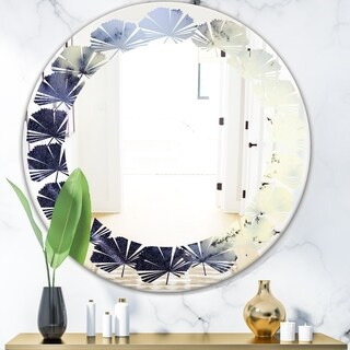 Designart 'Moss Agate bush' Modern Round or Oval Wall Mirror - Leaves