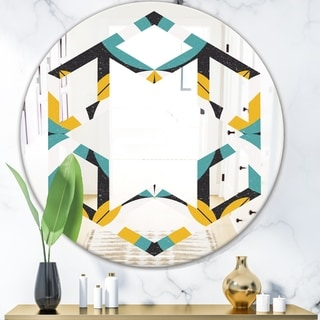 Designart 'Retro Abstract Design VII' Modern Round or Oval Wall Mirror - Hexagon Star