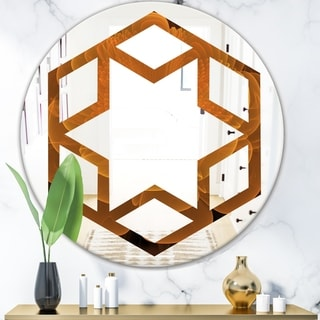 Designart 'Water Lily Digital Art Fractal Flower' Modern Round or Oval Wall Mirror - Hexagon Star