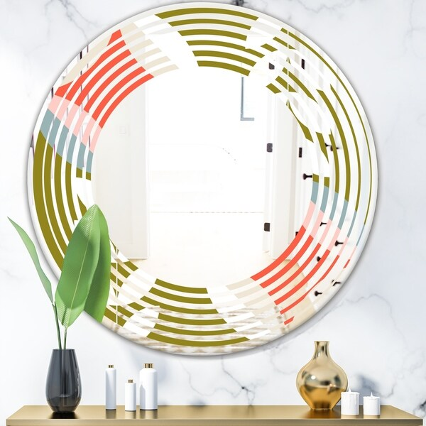 Designart 'Retro Botanical Pattern I' Modern Round or Oval Wall Mirror - Wave