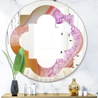 Designart 'Crystals of Amethyst in Agate' Modern Round or Oval Wall Mirror - Quatrefoil