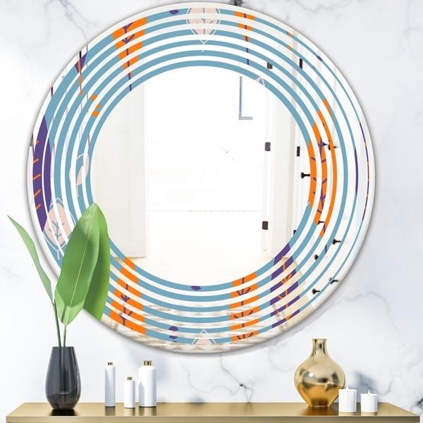 Designart 'Floral Retro Botanical Pattern II' Modern Round or Oval Wall Mirror - Wave