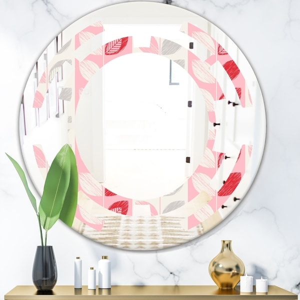 Designart 'Botanical Retro Design I' Modern Round or Oval Wall Mirror - Space