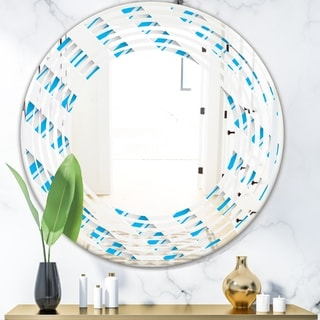 Designart '3D White and Blue Pattern VI' Modern Round or Oval Wall Mirror - Wave