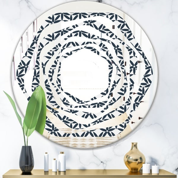 Designart 'Retro Abstract Flower Design IV' Modern Round or Oval Wall Mirror - Whirl
