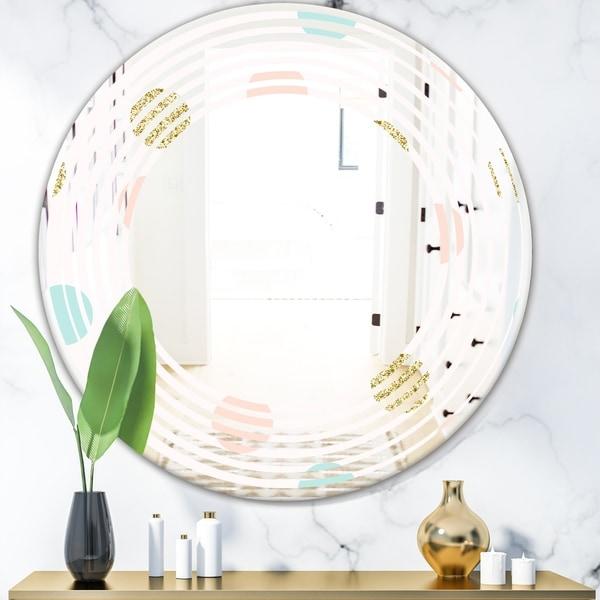 Designart 'Gold Chic Design III' Modern Round or Oval Wall Mirror - Wave