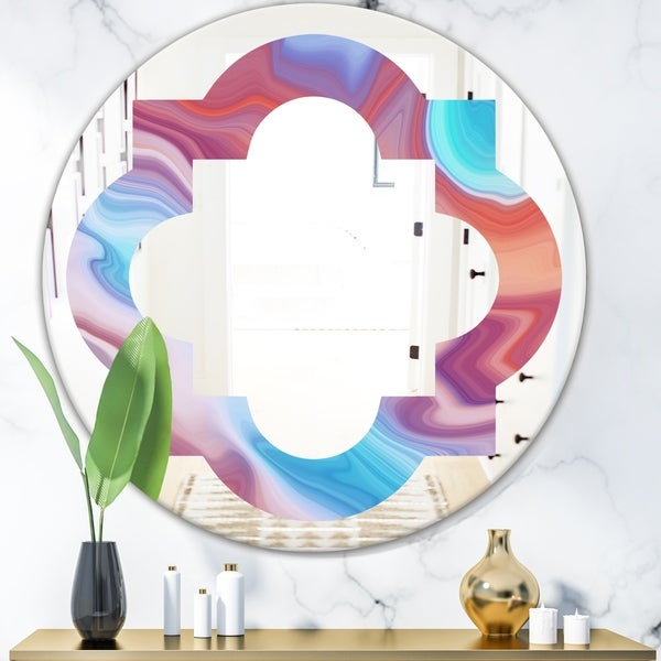 Designart 'Abstract Marbled Background' Modern Round or Oval Wall Mirror - Quatrefoil - Multi
