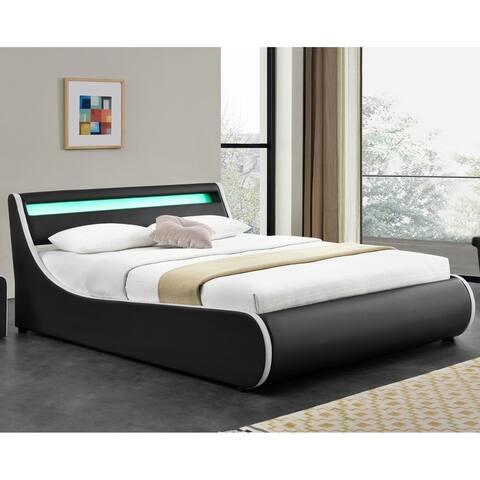 Strick & Bolton Owen Black Upholstered Platform Bed with LED Lighting