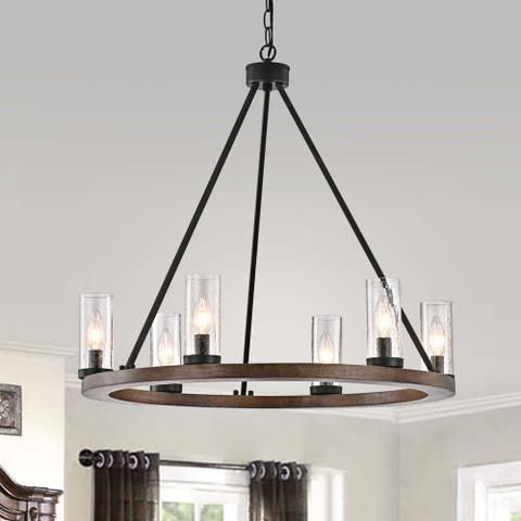 Daniela Natural Wood and Antique Black Metal Bubble Glass Chandelier
