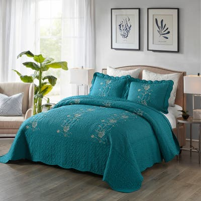 Embroidered Cotton Quilt Set